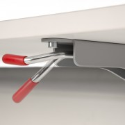 Handle that allows the flip table mechanism to be activated with one hand.