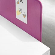 Slim panel made with acoustic fabric that provides a high level of sound absorption.
