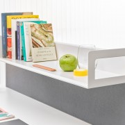 Metallic book tray compatible with S2 acoustic panels and melamine panels.